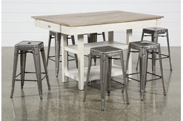 Westshore 7 Piece Counter Set With Radical Silver Stools