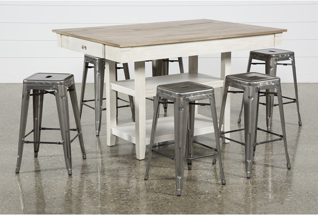 Westshore 7 Piece Counter Set With Radical Silver Stools - 360
