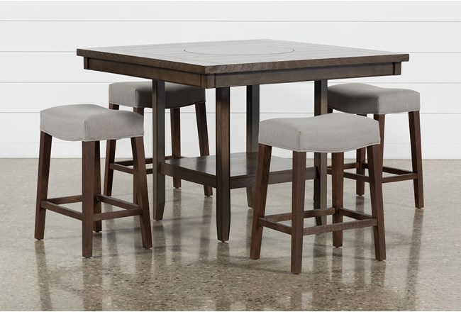 Sutton 5 Piece Counter Set With Cheswick Mineral Stools - 360