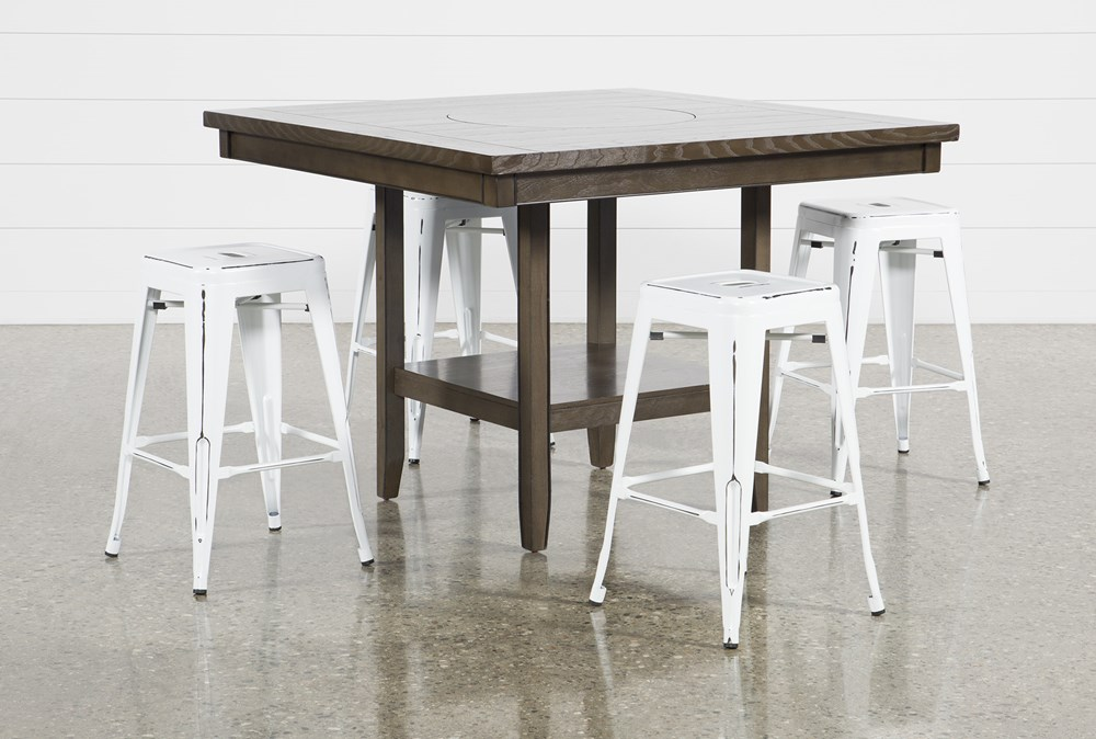 Sutton 5 Piece Counter Set With Radical White Stools
