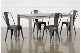Matias Grey 5 Piece Dining Set With Delta Bronze Chairs