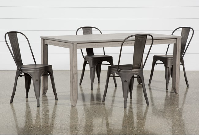 Matias Grey 5 Piece Dining Set With Delta Bronze Chairs - 360