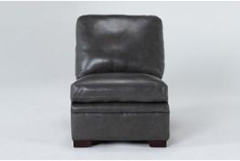 Greer Dark Grey Leather Armless Chair