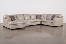 "Greer Stone Leather 4 Piece 171"" Sectional With Left Arm Facing Chaise & Armless Sofa"