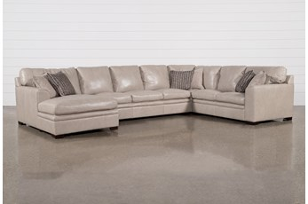 Greer Stone Leather 4 Piece Sectional With Left Arm Facing Chaise & Armless Sofa