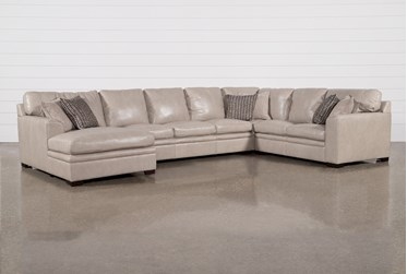 """Greer Stone Leather 4 Piece 171"""" Sectional With Left Arm Facing Chaise & Armless Sofa"""
