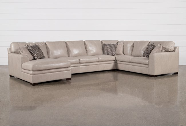 Greer Stone Leather 4 Piece Sectional With Left Arm Facing Chaise & Armless Sofa - 360