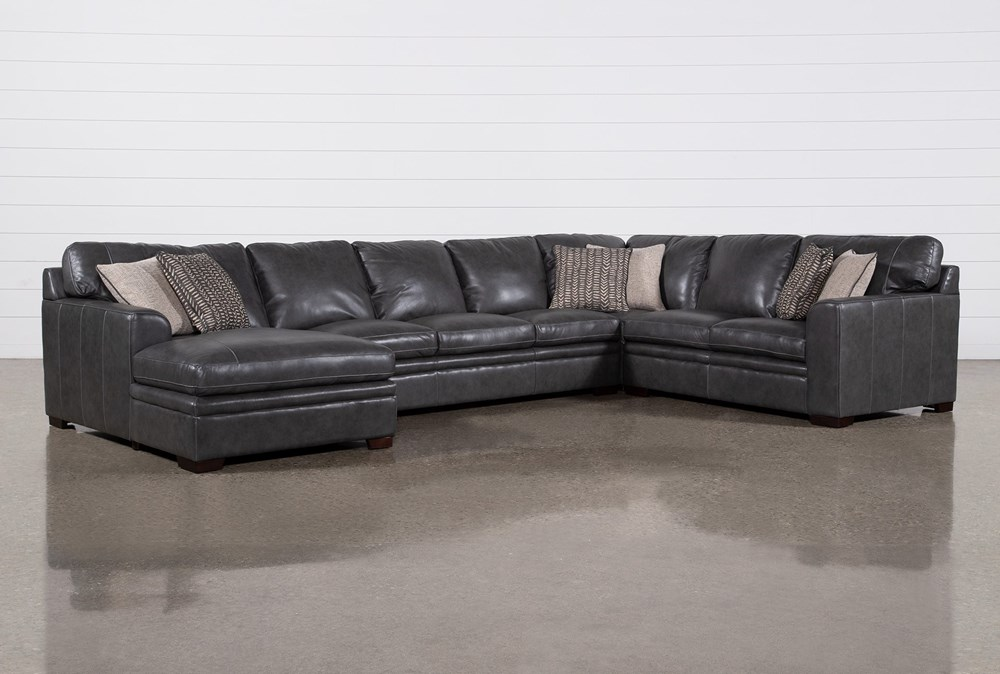 """Greer Dark Grey Leather 4 Piece 171"""" Sectional With Left Arm Facing Chaise & Armless Sofa"""