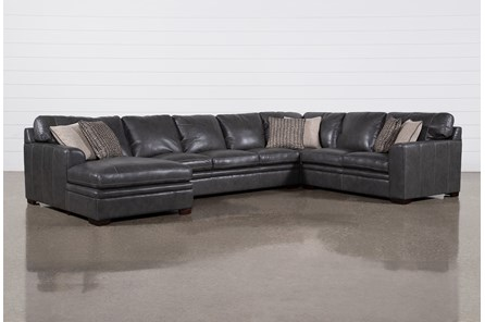 Greer Dark Grey Leather 4 Piece Sectional With Left Arm Facing Chaise & Armless Sofa