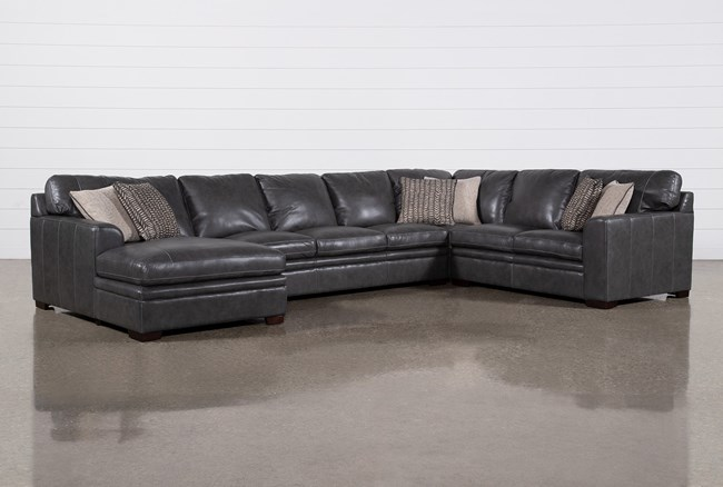 """Greer Dark Grey Leather 4 Piece 171"""" Sectional With Left Arm Facing Chaise & Armless Sofa - 360"""