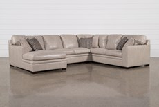 "Greer Stone Leather 4 Piece 143"" Sectional With Left Arm Facing Chaise & Armless Loveseat"