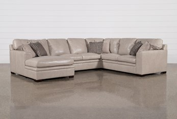 """Greer Stone Leather 4 Piece 143"""" Sectional With Left Arm Facing Chaise & Armless Loveseat"""