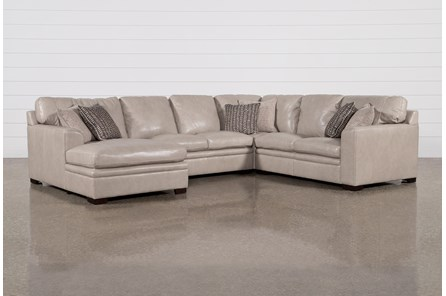 Greer Stone Leather 4 Piece Sectional With Left Arm Facing Chaise & Armless Loveseat