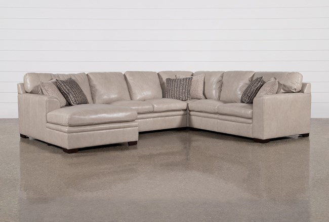 """Greer Stone Leather 4 Piece 143"""" Sectional With Left Arm Facing Chaise & Armless Loveseat - 360"""