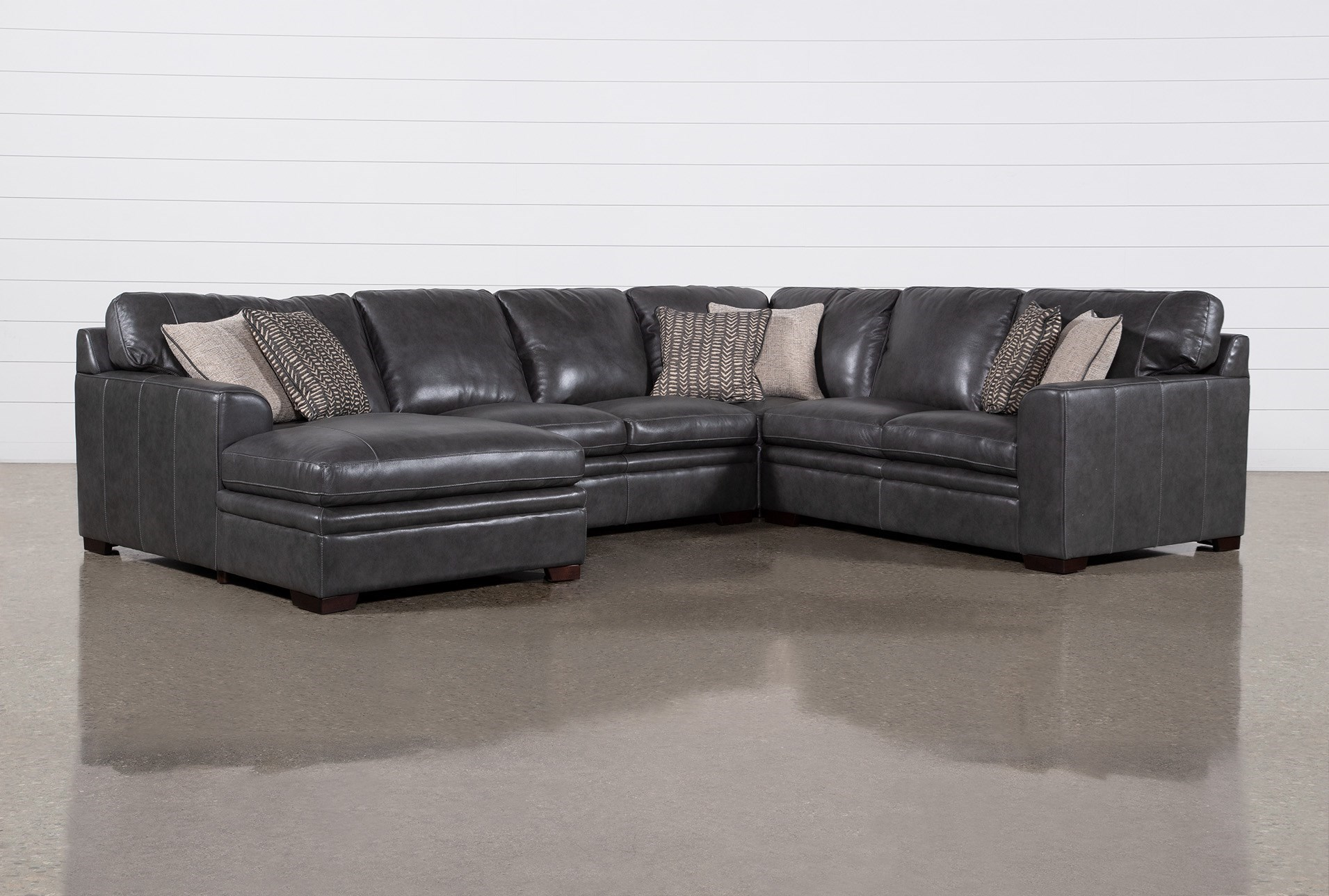 "Greer Dark Grey Leather 4 Piece 143"" Sectional With Left Arm Facing Chaise & Armless Loveseat 