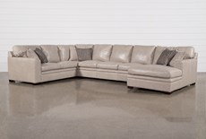 "Greer Stone Leather 4 Piece 171"" Sectional With Right Arm Facing Chaise & Armless Sofa"
