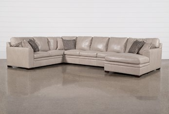 """Greer Stone Leather 4 Piece 171"""" Sectional With Right Arm Facing Chaise & Armless Sofa"""