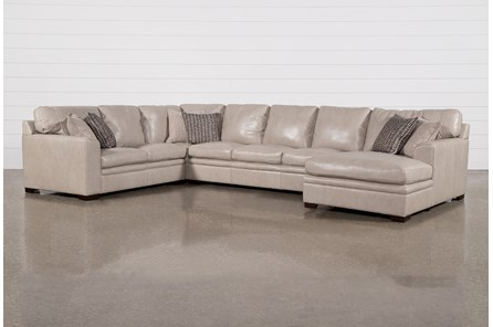 Greer Stone Leather 4 Piece Sectional With Right Arm Facing Chaise & Armless Sofa