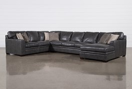 """Greer Dark Grey Leather 4 Piece 171"""" Sectional With Right Arm Facing Chaise & Armless Sofa"""