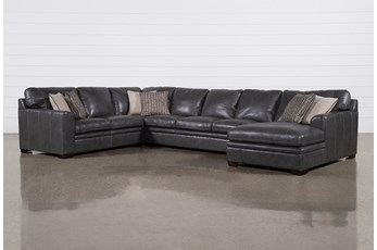 Greer Dark Grey Leather 4 Piece Sectional With Right Arm Facing Chaise & Armless Sofa