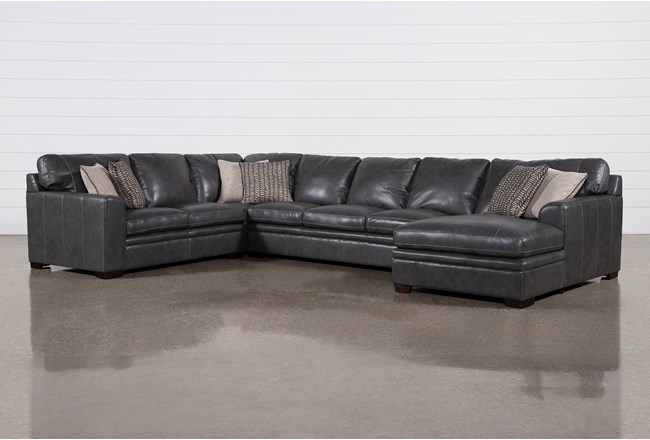 "Greer Dark Grey Leather 4 Piece 171"" Sectional With Right Arm Facing Chaise & Armless Sofa - 360"