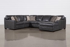 """Greer Dark Grey Leather 4 Piece 143"""" Sectional With Right Arm Facing Chaise & Armless Loveseat"""