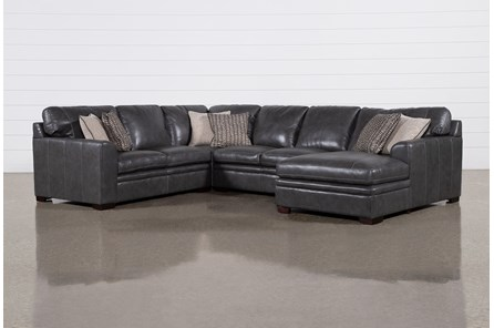Greer Dark Grey Leather 4 Piece Sectional With Right Arm Facing Chaise & Armless Loveseat