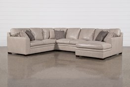 """Greer Stone Leather 4 Piece 143"""" Sectional With Right Arm Facing Chaise & Armless Loveseat"""