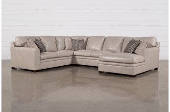 "Greer Stone Leather 4 Piece 143"" Sectional With Right Arm Facing Chaise & Armless Loveseat"