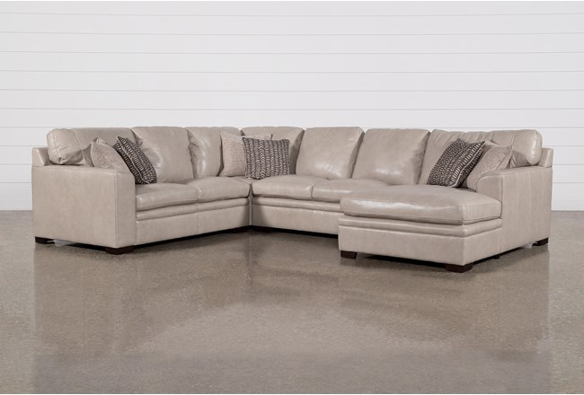 "Greer Stone Leather 4 Piece 143"" Sectional With Right Arm Facing Chaise & Armless Loveseat - 360"