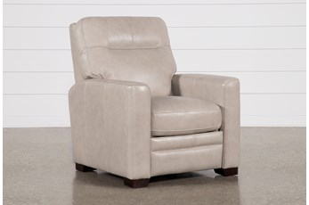 Greer Stone Leather Power Recliner With Power Headrest