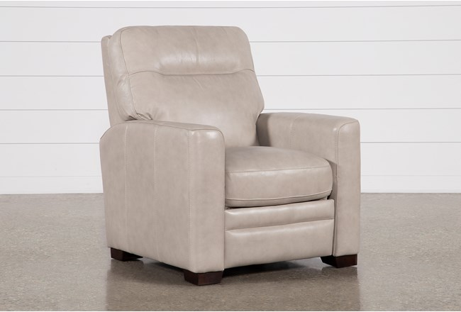 Greer Stone Leather Power Recliner With Power Headrest - 360