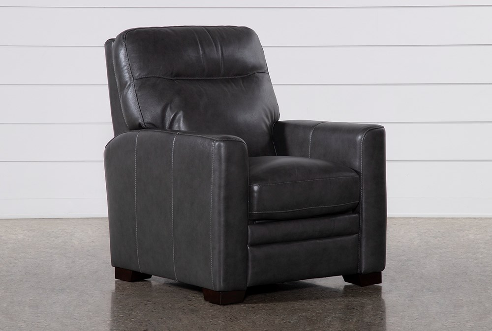 Greer Dark Grey Leather Power Recliner With Power Headrest