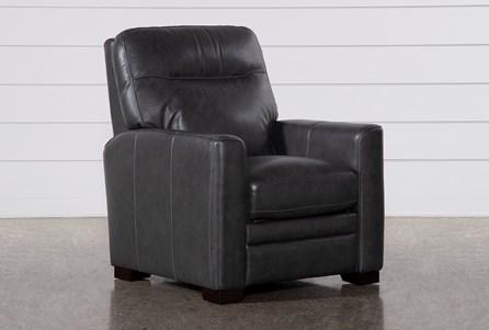 Greer Dark Grey Leather Power Recliner With Power Headrest - Main