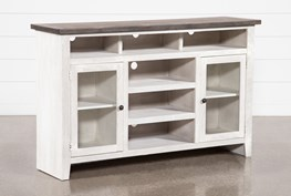 Dixon White 65 Inch Highboy TV Stand With Glass Doors