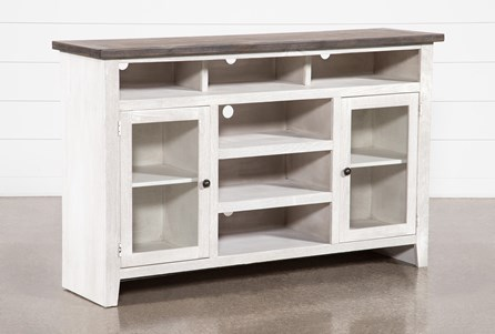 Dixon White 65 Inch Highboy TV Stand With Glass Doors - Main