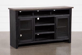 Dixon Black 65 Inch Highboy TV Stand With Glass Doors