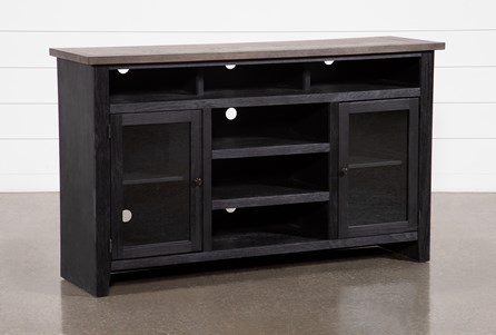 Dixon Black 65 Inch Highboy TV Stand With Glass Doors - Main