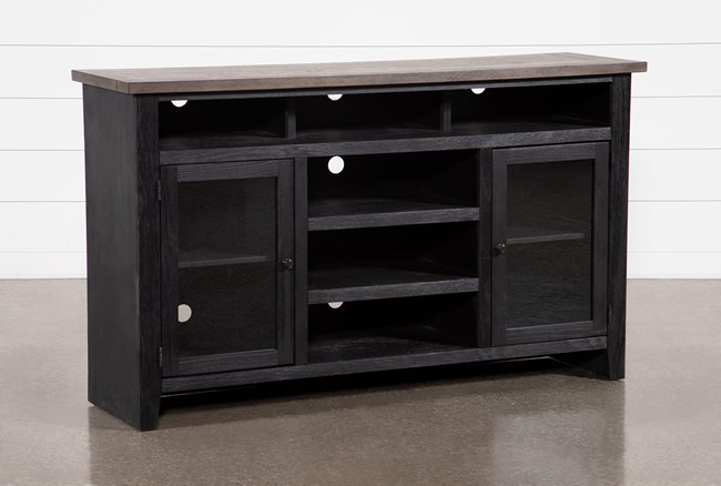 Dixon Black 65 Inch Highboy TV Stand With Glass Doors - 360
