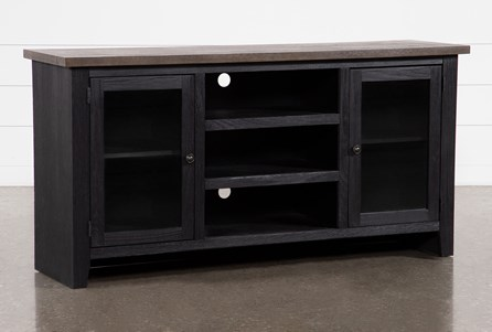 Dixon Black 65 Inch TV Stand With Glass Doors - Main
