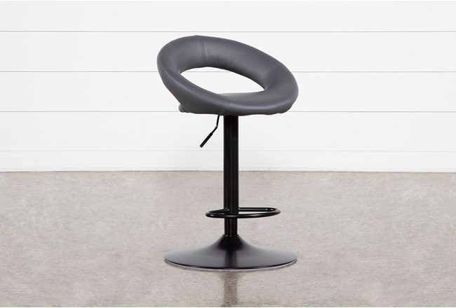 Carlo Dark Grey 33 Inch Adjustable Bar Stool - 360