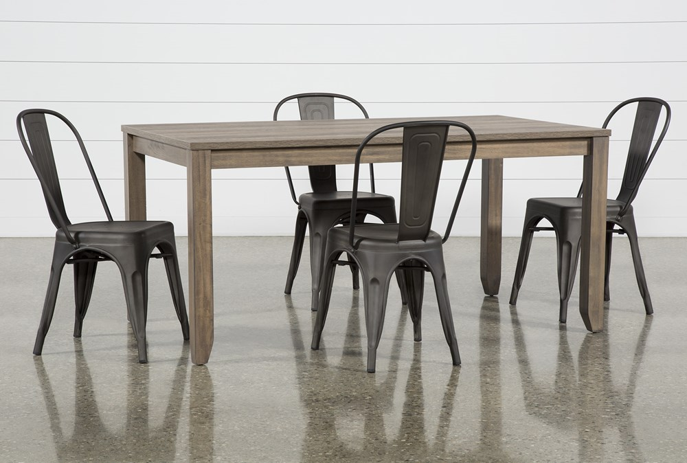 Matias Brown 5 Piece Dining Set With Delta Bronze Chairs