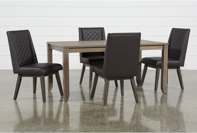Matias Brown 5 Piece Dining Set With Links Chairs - 360