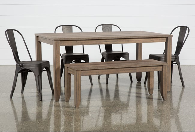 Matias Brown 6 Piece Dining Set With Delta Bronze Chairs - 360