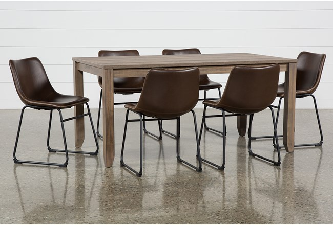 Matias Brown 7 Piece Dining Set With Cobbler Chairs - 360