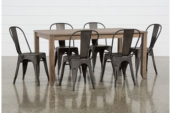 Matias Brown 7 Piece Dining Set With Delta Bronze Chairs