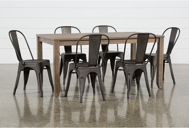 Matias Brown 7 Piece Dining Set With Delta Bronze Chairs - 360