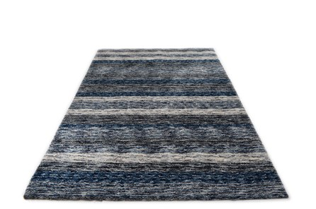 108X156 Rug-Plush Shag Striations Denim