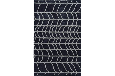 60X90 Rug-Shaggy Waves Navy/Grey