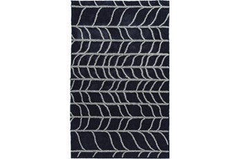 86X120 Rug-Shaggy Waves Navy/Grey